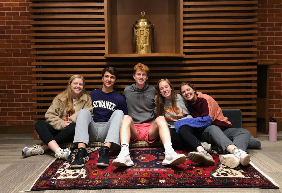 (From L-R) 2019-2020 Emmaus Board members Izzy Wagner, Conner Abshier, Matthew Davis, Emma Strickland, and Brynn Werner