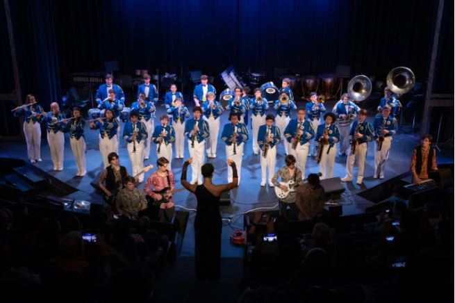 The 2019 Marist Marching Band performs in Woodruff Auditorium