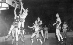 A basket is made in the first ever NCAA Men's Basketball National Championship, held on March 27, 1939, between the University of Oregon and Ohio State University.